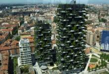 Небоскребы с деревьями на балконах